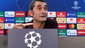 Ernesto Valverde, en la rueda de prensa previa al Barça-Inter.