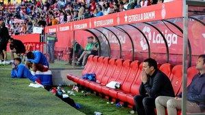 Eusebio tras consumarse el descenso a Segunda en el banquillo de Montilivi.