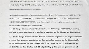 Extracto del documento original del protocolo de relación parlamentaria entre el PSC y el PSOE, firmado en 1977.