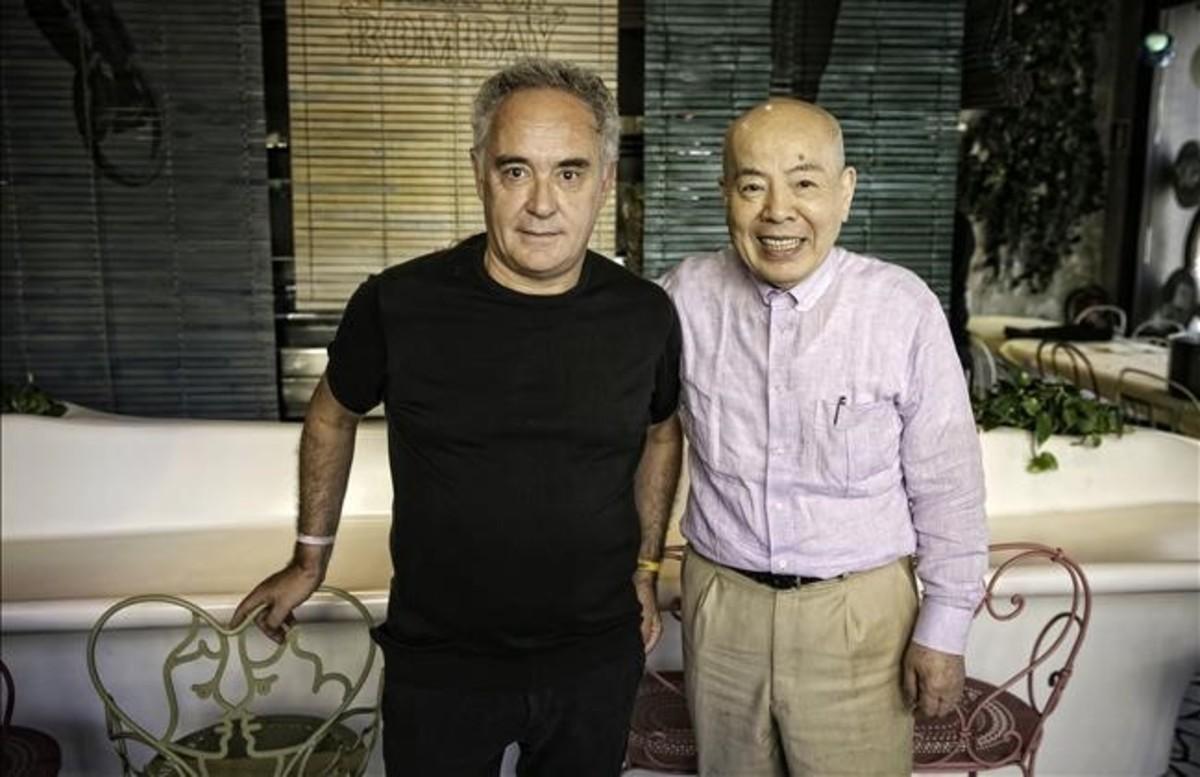 Ferran Adrià e Hiroyoshi Ishida, en la presentación de 'El tigre de yuzu'.