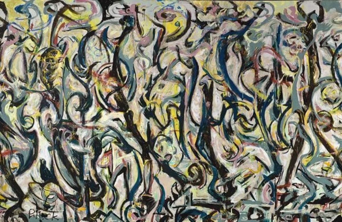 Fragmento del gran Mural de 1943 que Jackson Pollock pintó para Peggy Guggenheim.