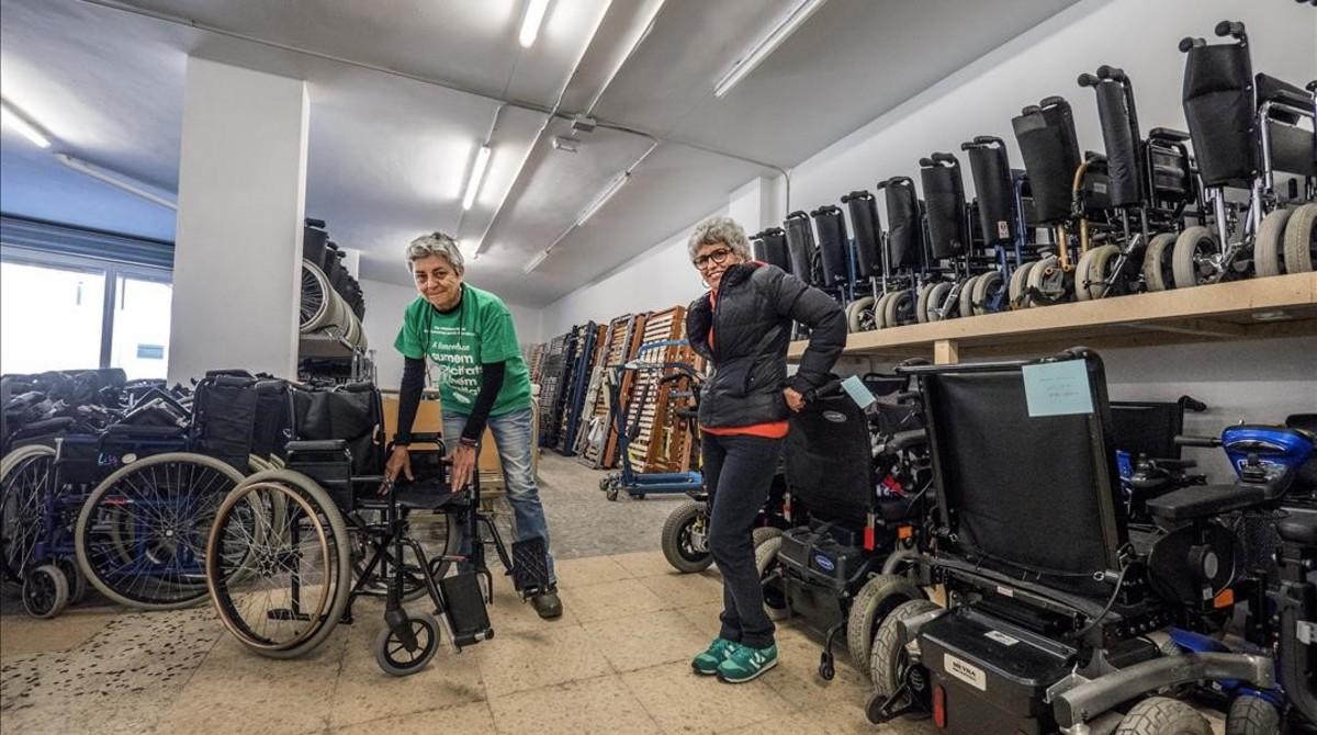 García y Gallamini, en el almacén del Banc del Moviment
