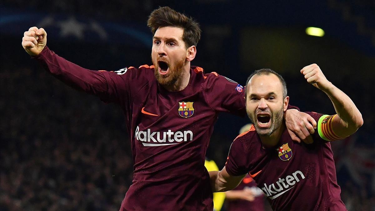 Iniesta y Messi celebran un gol ante el Chelsea en Abril de 2018.