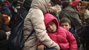 Inmigrantes bloqueados en Pazarkule, entre Grecia y Turquía.