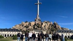 Integrantes de Bastión Frontal en el Valle de Los Caídos, en una imagen publicada en sus redes sociales.