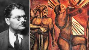 El pintor mexicano José Clemente Orozco y uno de sus conocidos murales