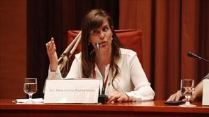 Victoria Álvarez durante la comisión de investigación en el Parlament por el caso Pujol en 2015.