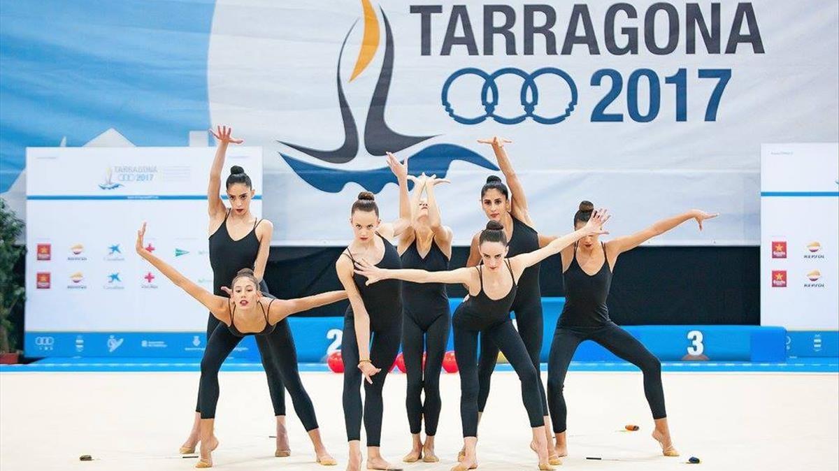 Exhibición gimnástica de los Juegos Mediterráneos.
