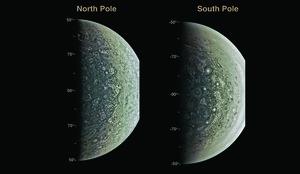 Imágenes de los polos de Júpiter obtenidas gracias a la sonda estadounidense Juno.