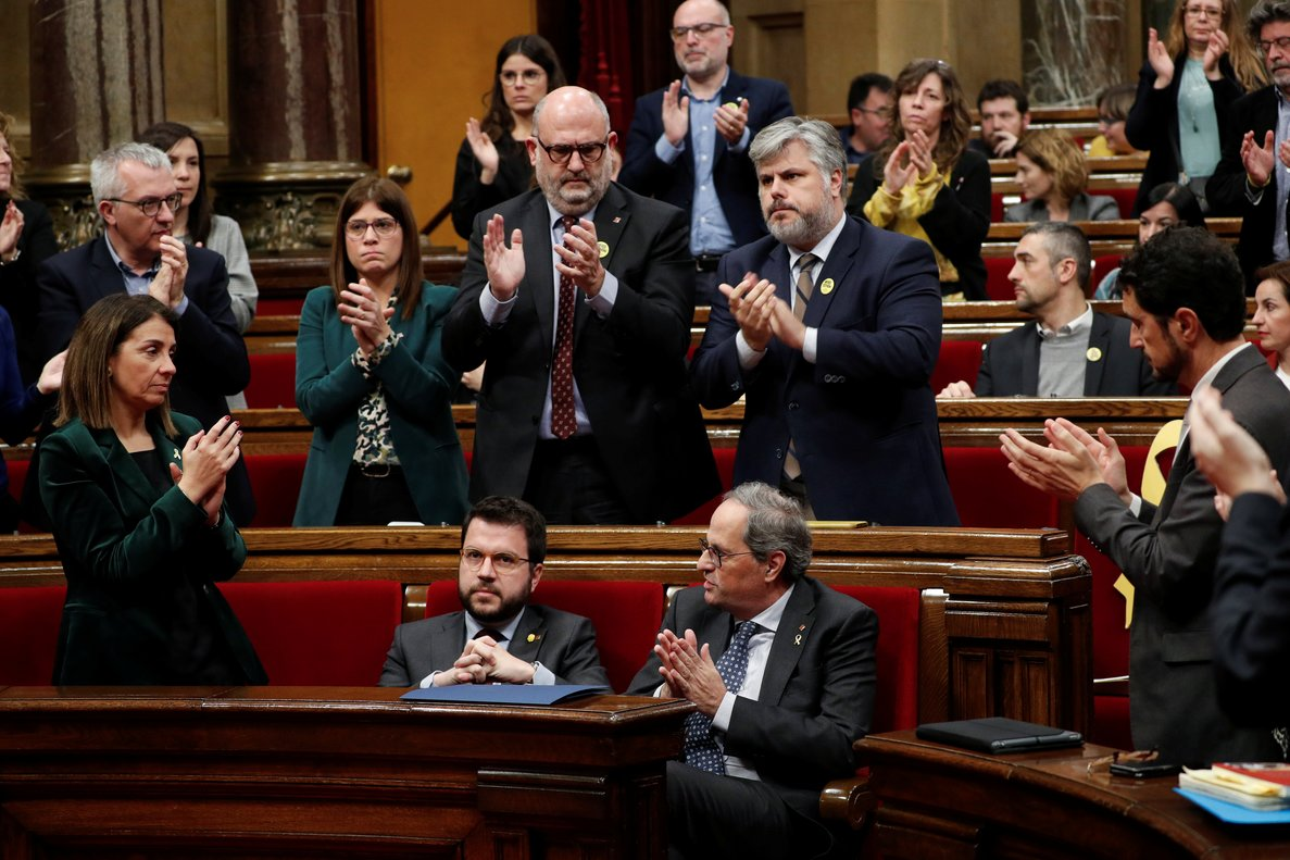 Leader of Catalonia's regional government Quim Torra gestures during a parliament session at the Parliament of Catalonia in Barcelona, Spain, January 27, 2020. REUTERS/Albert Gea