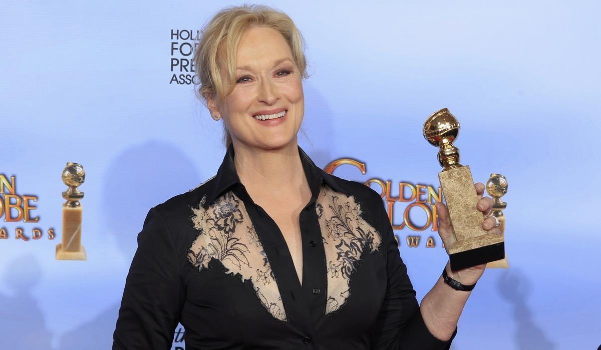 Meryl Streeo, en los Globos de Oro del 2012, cuando recibió el premio a mejor actriz por La dama de hierro, producida por Harvey Weinstein.