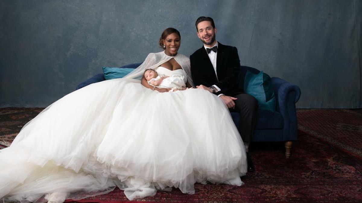 Serena Williams y Alexis Ohanian y su hija.