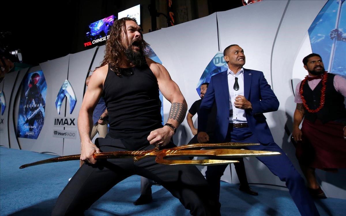 Jason Momoa, en el estreno de 'Aquaman'.