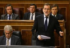 Mariano Rajoy responde a una pregunta, ayer, en el Congreso.