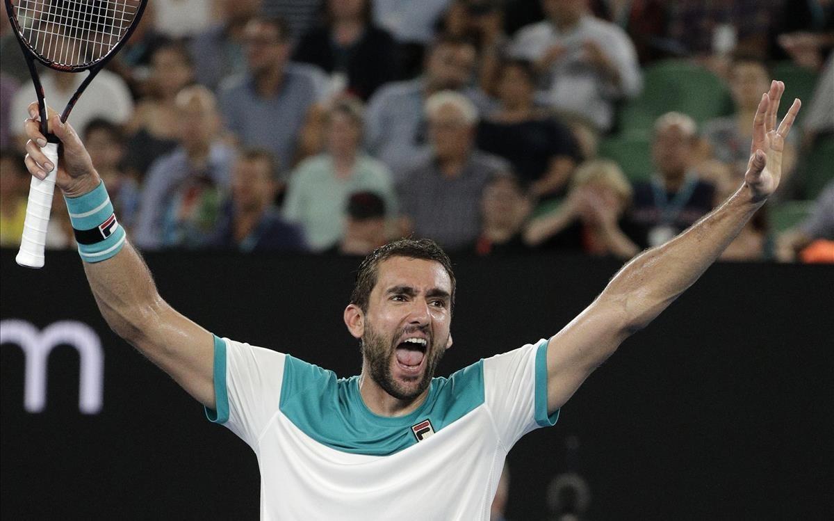 Marin Cilic celebra su clasificación para la final de Australia
