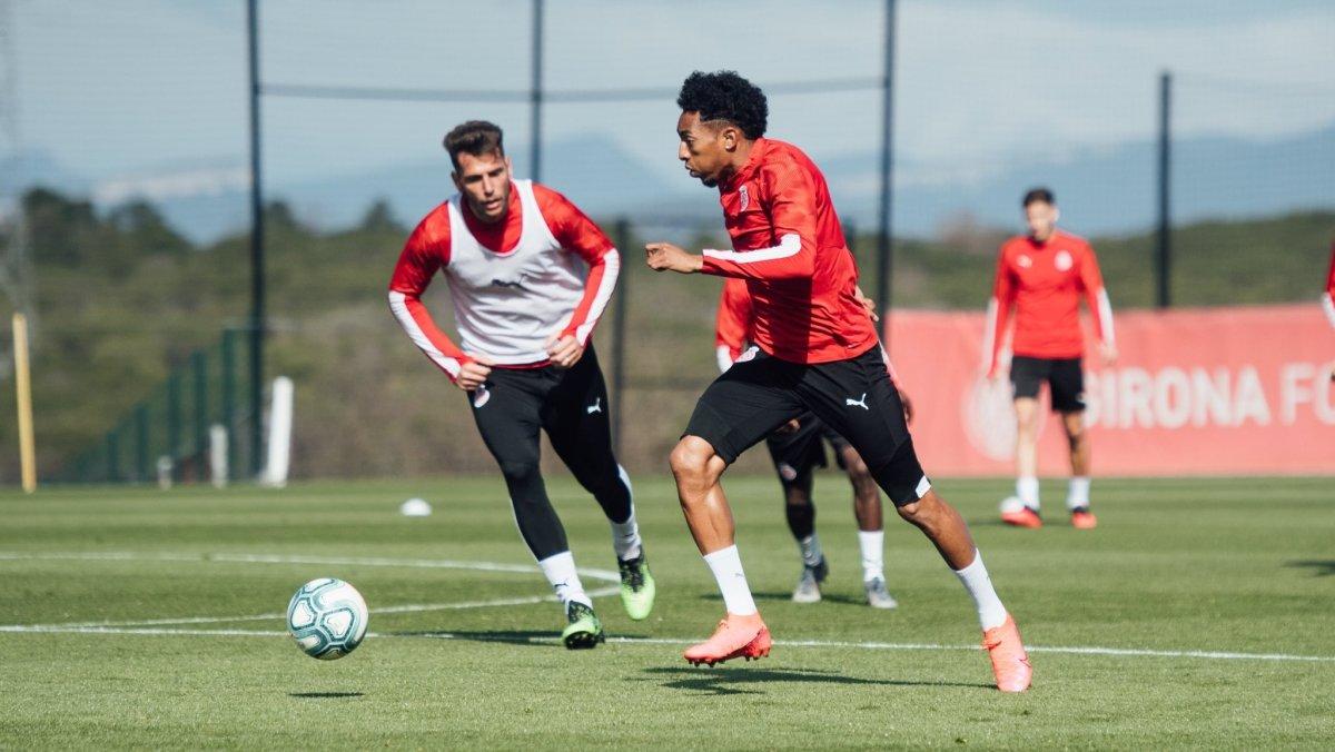 Mojica, en un entrenamiento del Girona de esta semana.