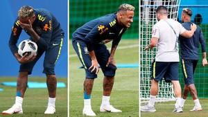 Neymar se lesiona yabandona el entrenamiento de Brasil.