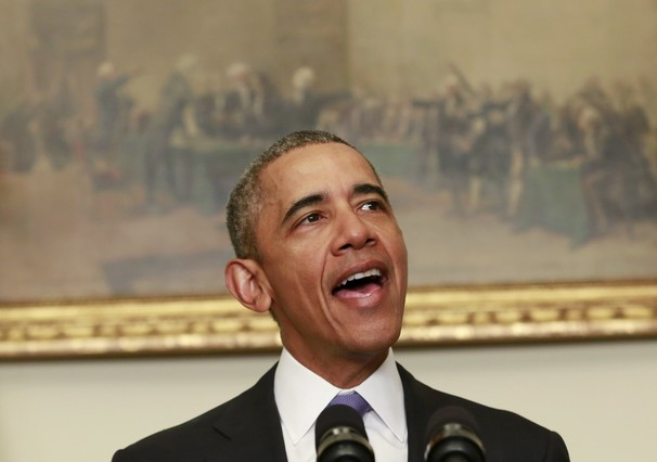 El presidente de EEUU,Barack Obama, durante la comparecencia para valorar el levantamiento de sanciones a Irán.