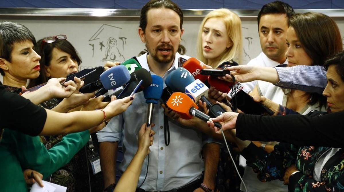 Pablo Iglesias defiende la actuación de Ramón Espinar en unas declaraciones desde el Congreso.