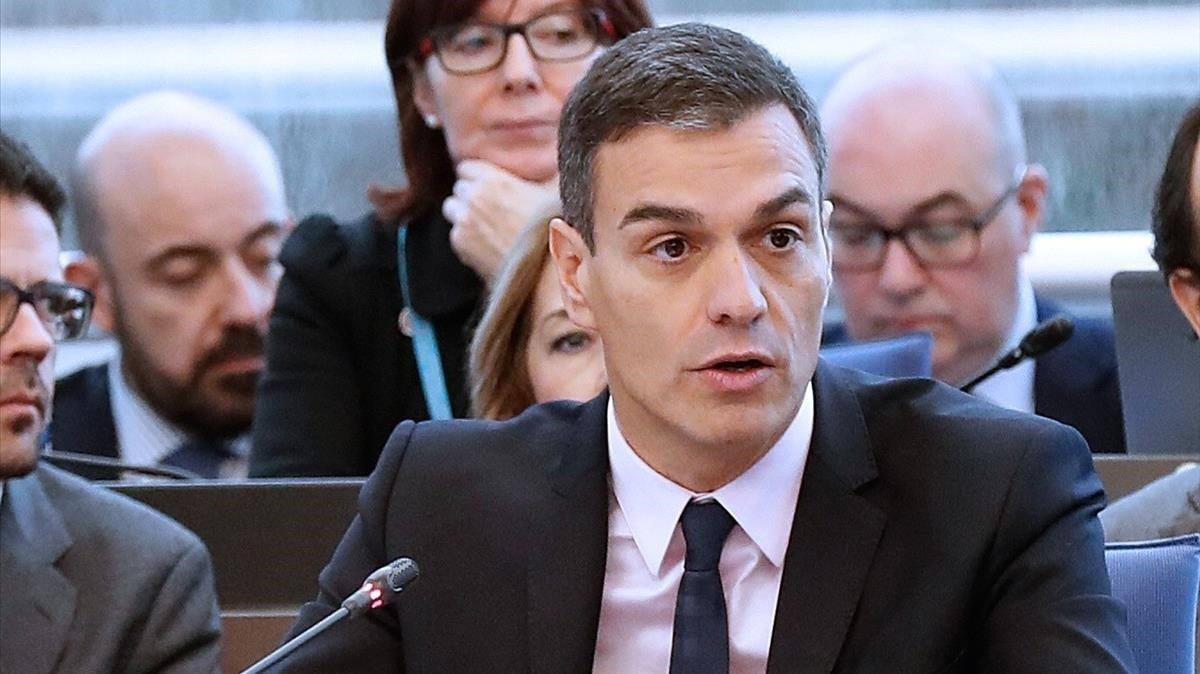 El presidente del Gobierno, Pedro Sánchez, en el Consejo de Europa, en Estrasburgo