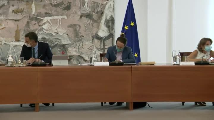 El presidente del Gobierno, Pedro Sánchez, presidiendo el primer Consejo de Ministros después de las vacaciones.