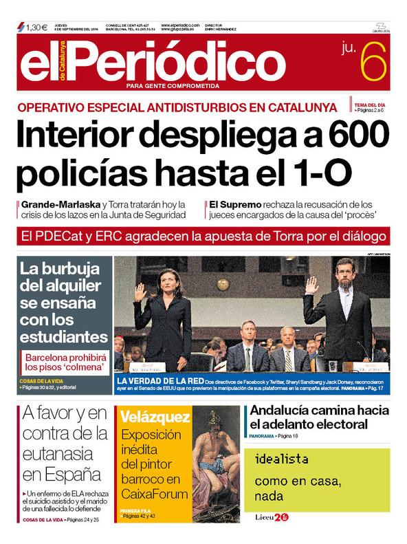 La portada de EL PERIÓDICO del 6 de septiembre del 2018