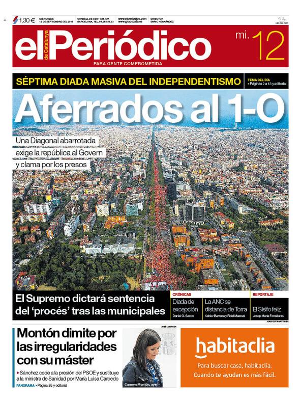 La portada de EL PERIÓDICO del 12 de septiembre del 2018