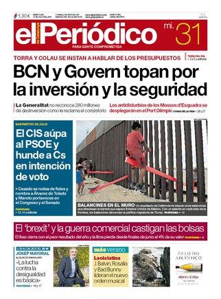 La portada de EL PERIÓDICO del 31 de julio del 2019