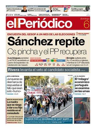 La portada de EL PERIÓDICO del 6 de octubre del 2019.