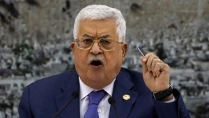 El presidente de la ANP, Mahmud Abás, durante un encuentro en Ramala con las autoridades palestinas.