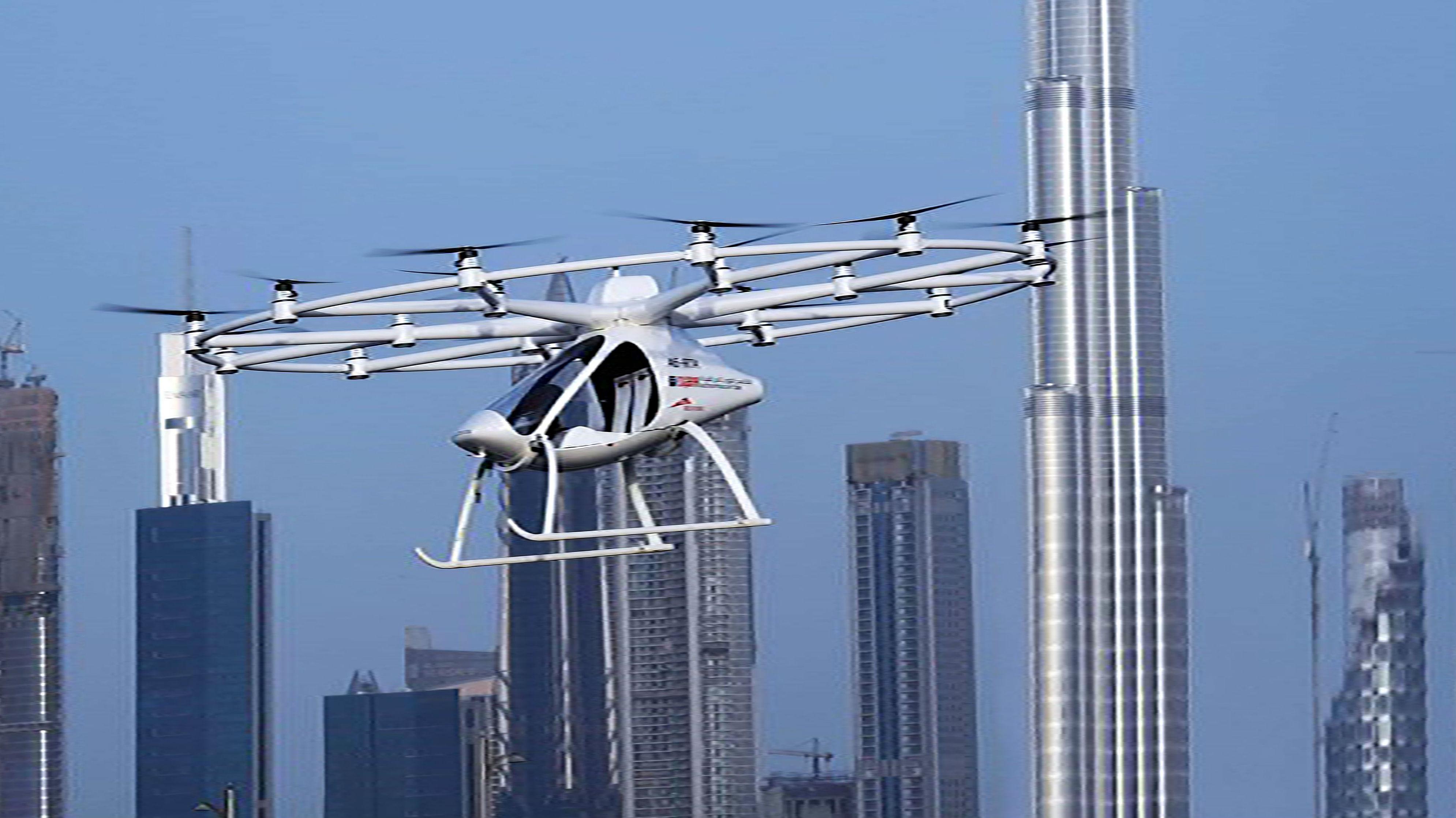 Demostración del primer vuelo del taxi-dron autónomo en Dubái