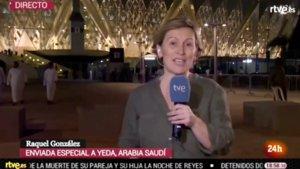 Raquel González en un directo con el Canal 24 Horas de TVE desde Yeda, ciudad de Arabía Saudí en la que se celebra la Supercopa de España.