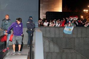 Los jugadores de River, a su llegada al hotel de Madrid.