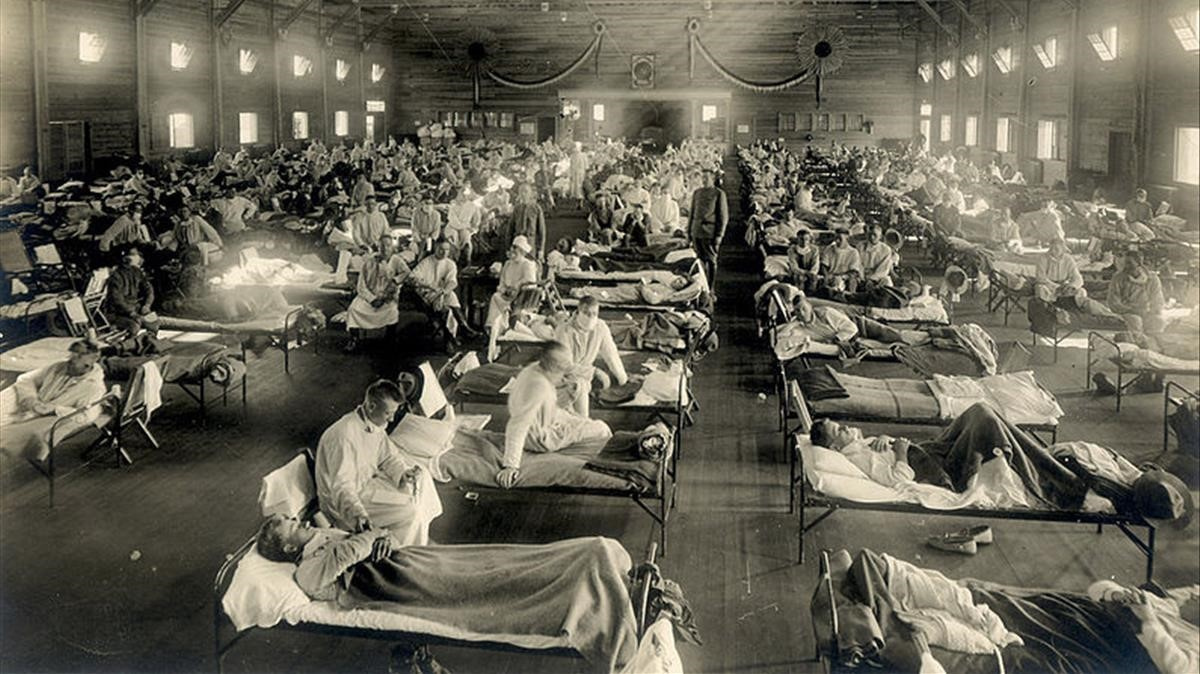 Hospital de emergencia en Camp Funston, enKansas,durante la gripe pandémica de 1918.