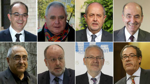 De izquierda a derecha y de arriba abajo, Jordi Turull, Andreu Viloca, Felip Puig, Miquel Roca, Joaquim Nadal, Àngel Colom, Brauli Duart y Pere Macias, que comparecerán como testigos en el 'caso Palau'.
