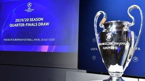 El trofeo de la Champions, en el sorteo de cuartos celebrado en Nyón.