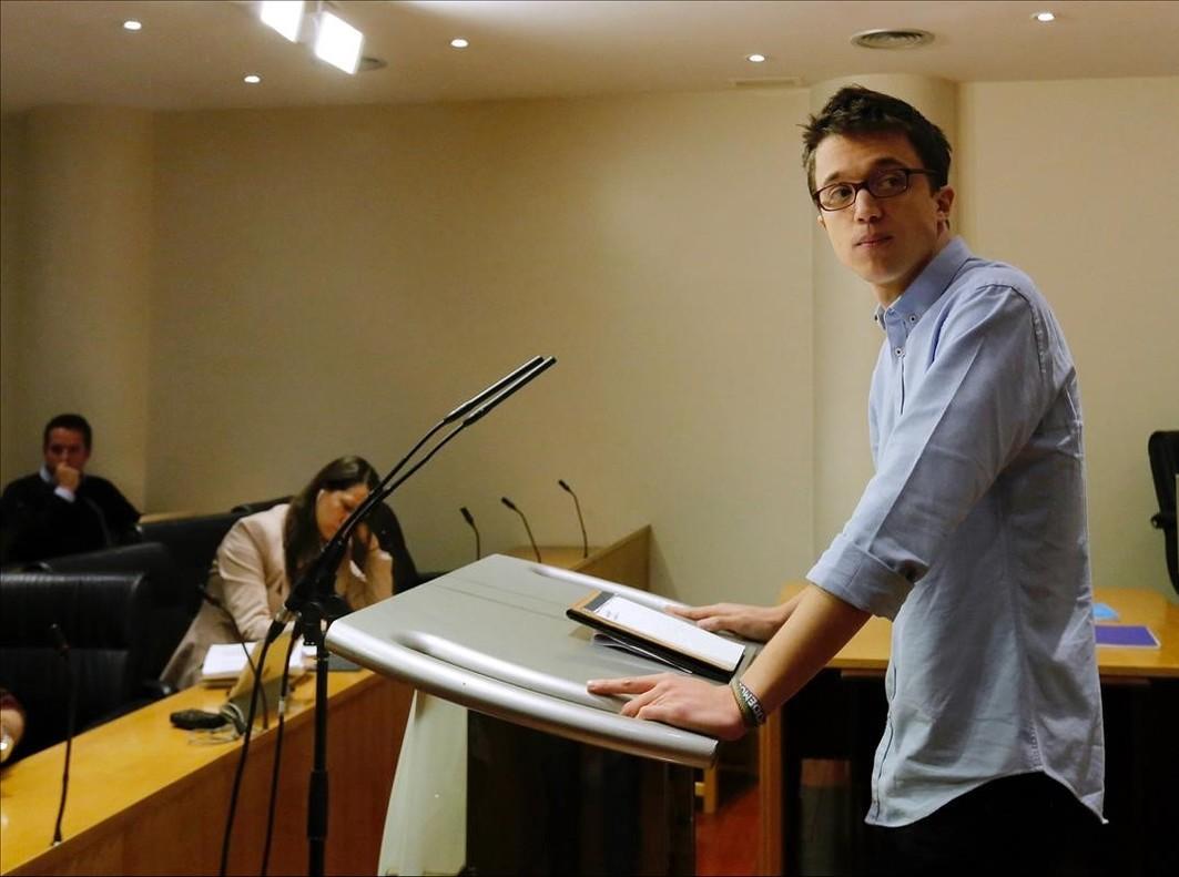 El portavoz de Podemos en el Congreso, Íñigo Errejón, en rueda de prensa.