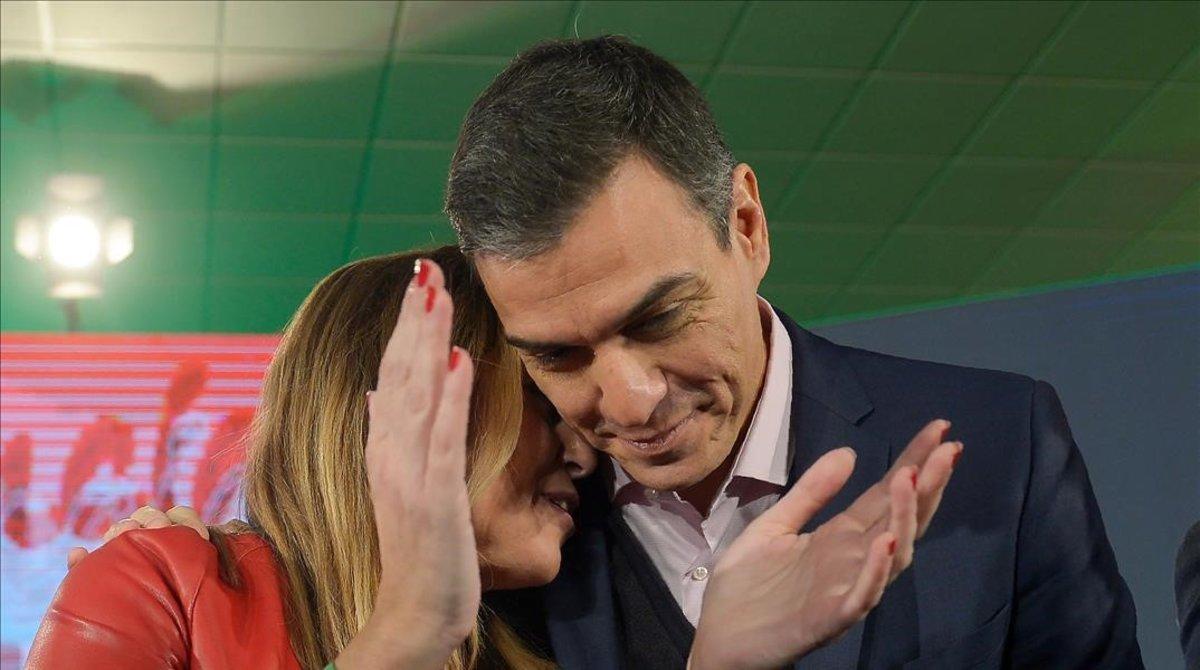 Susana Díaz y Pedro Sánchez, el pasado 18 de noviembre durante un mitin en Chiclana (Cádiz).