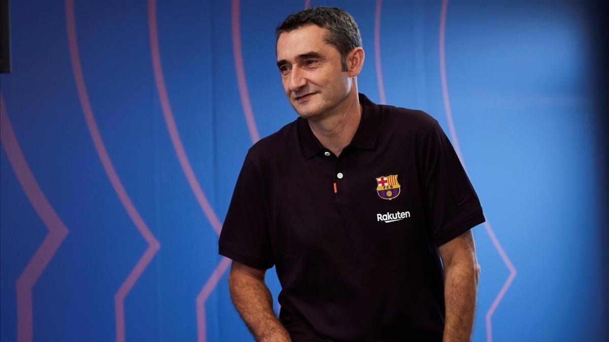 Valverde, antes de la rueda de prensa.