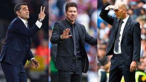 Valverde, Simeone y Zidane.