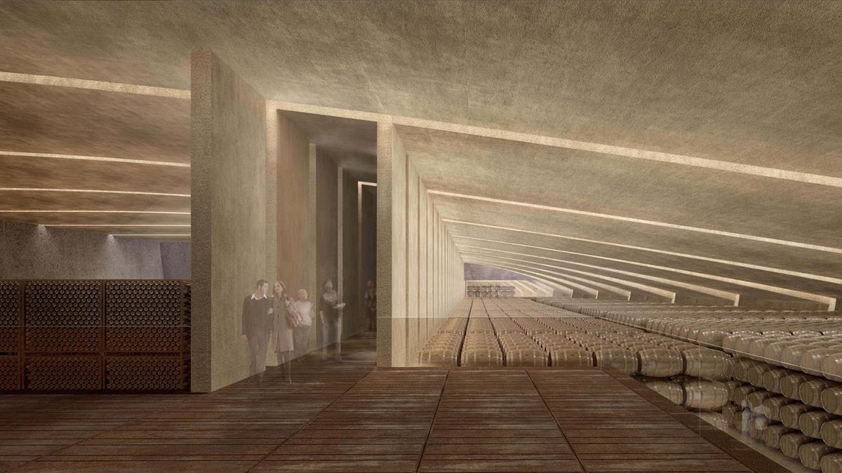 La zona de las barricas de las bodegas Peralada, según el proyecto de RCR Arquitectes.