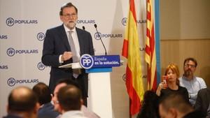 Mariano Rajoy este martes en un mitin en Girona.