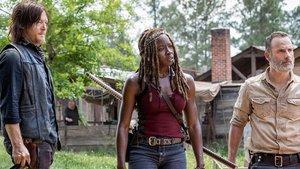 Norman Reedus, Danai Gurira y Andrew Lincoln, enel primer episodio de la novena temporada deThe Walking Dead.