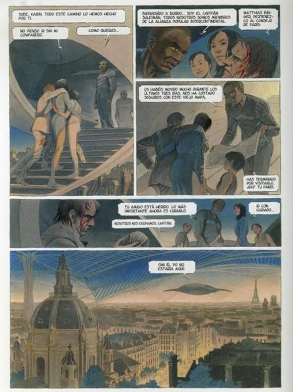 Página de Volver a París. La noche de las constelaciones, de Peeters y Schuiten.