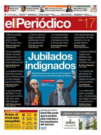 La portada de EL PERIÓDICO del 17 de marzo del 2018