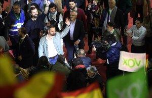Santiago Abascal, a su llegadaal acto electoral de VOX en Leganés, Madrid.