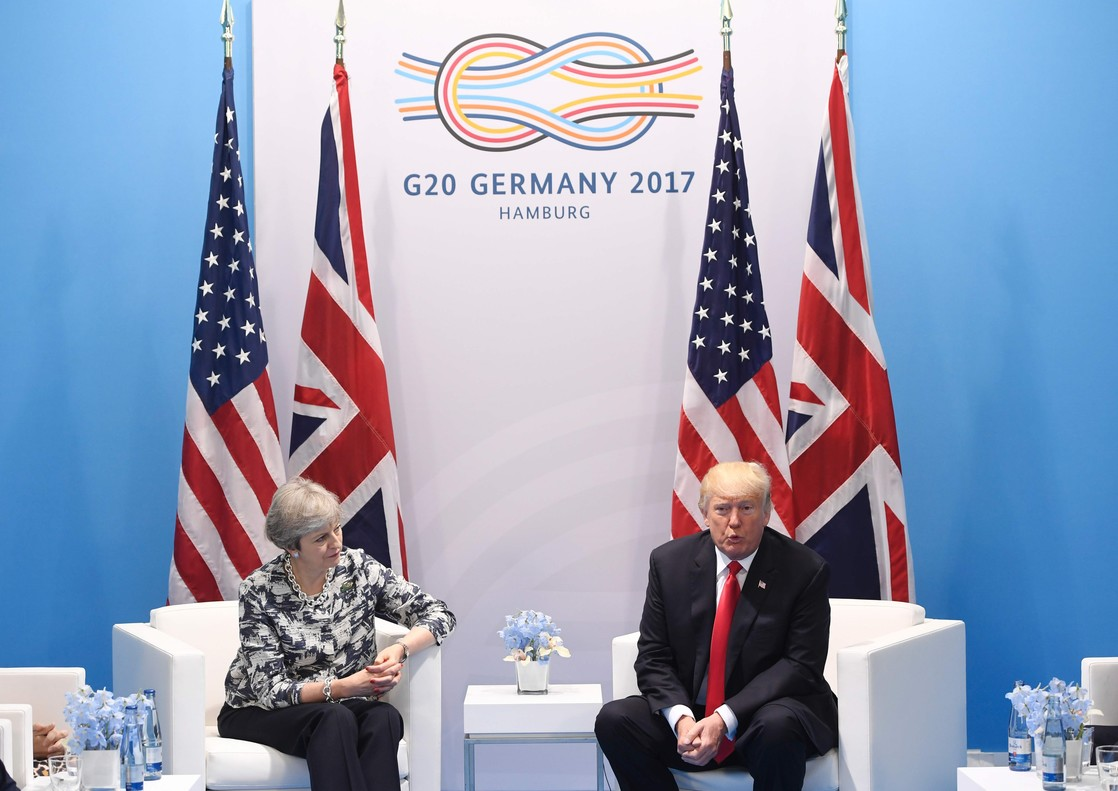 Theresa May y Donald Trump, durante su encuentro en el G-20.