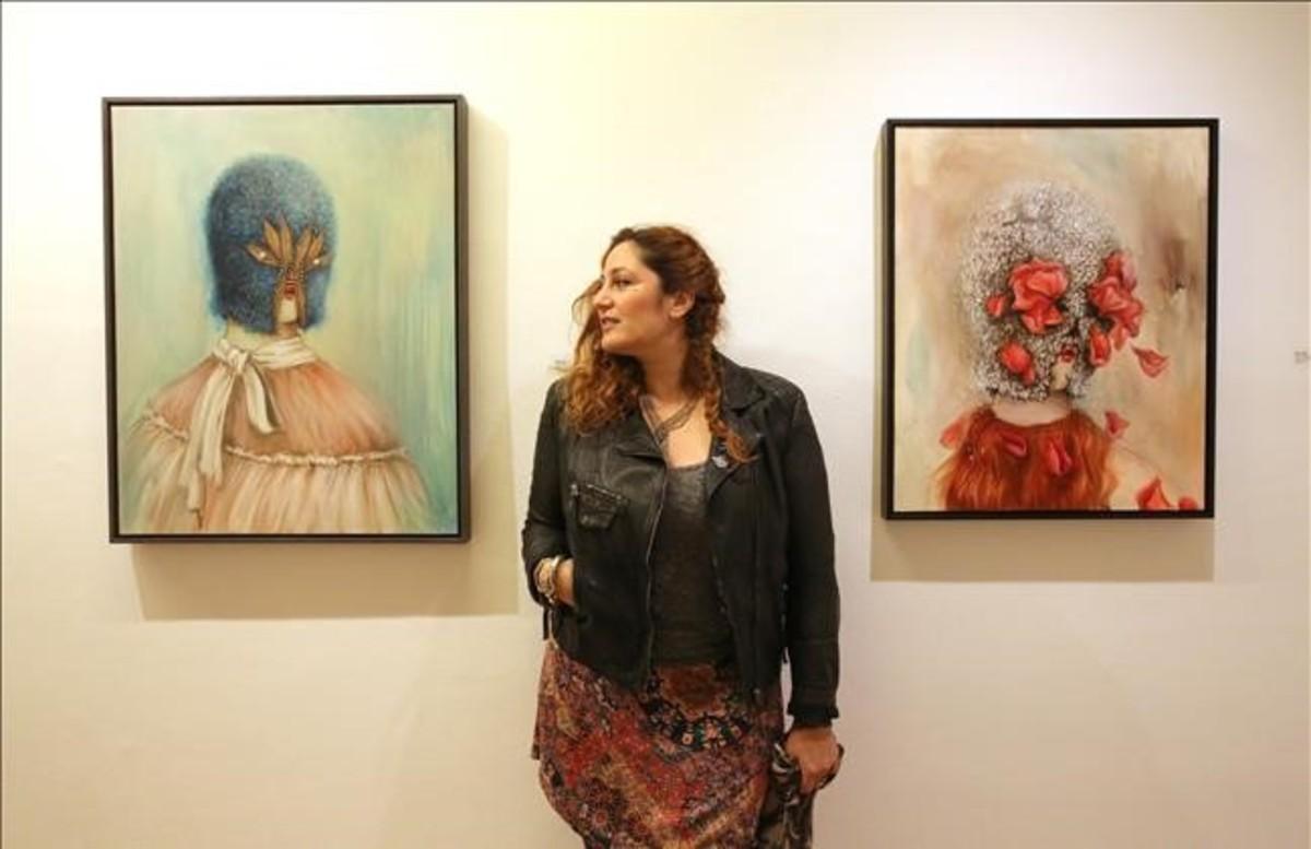 La artista Miss Van, el jueves durante la inauguración de la exposición 'Flor de piel'en la Galería Víctor Lope.