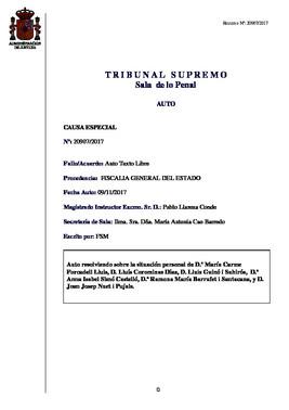 Auto del Tribunal Supremo sobre los miembros de la Mesa del Parlament.