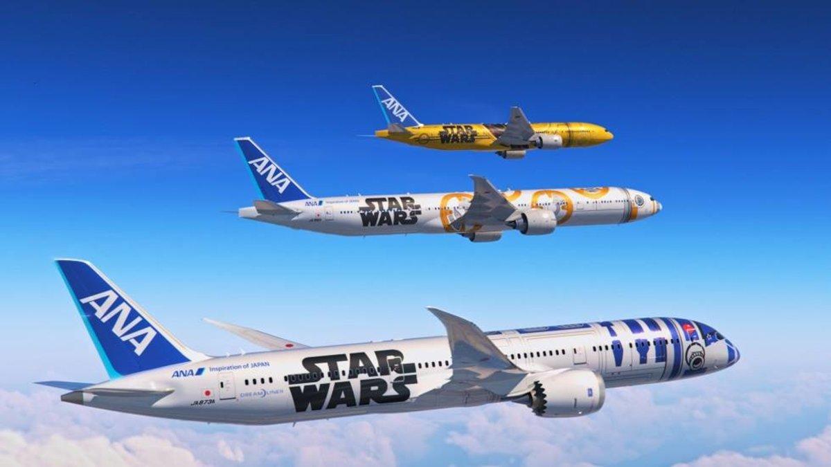 Aviones de la aerolínea japonesa ANA decorados con motivos de Star Wars.
